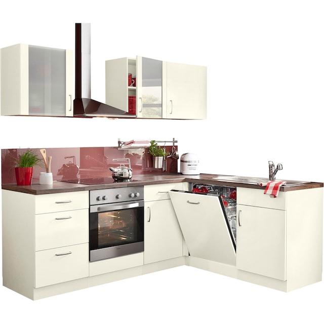 wiho Küchen Winkelküche »Brüssel«, mit E-Geräten, Stellbreite 220 x 170 cm, mit 38 mm starker Arbeitsplatte