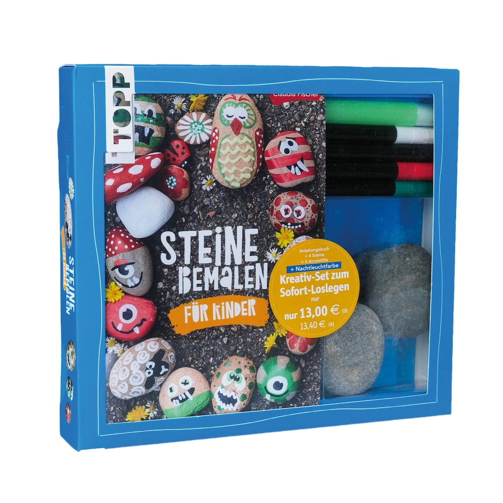 Buch »Kreativ-Set Steine bemalen für Kinder (Buch + Material) / Claudia Fischer, Ilona Butterer«