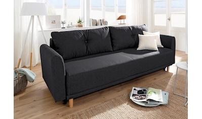 Home affaire Schlafsofa »Scandic«, inkl. 2 Zierkissen und Bettkasten, Knopfheftung in... kaufen