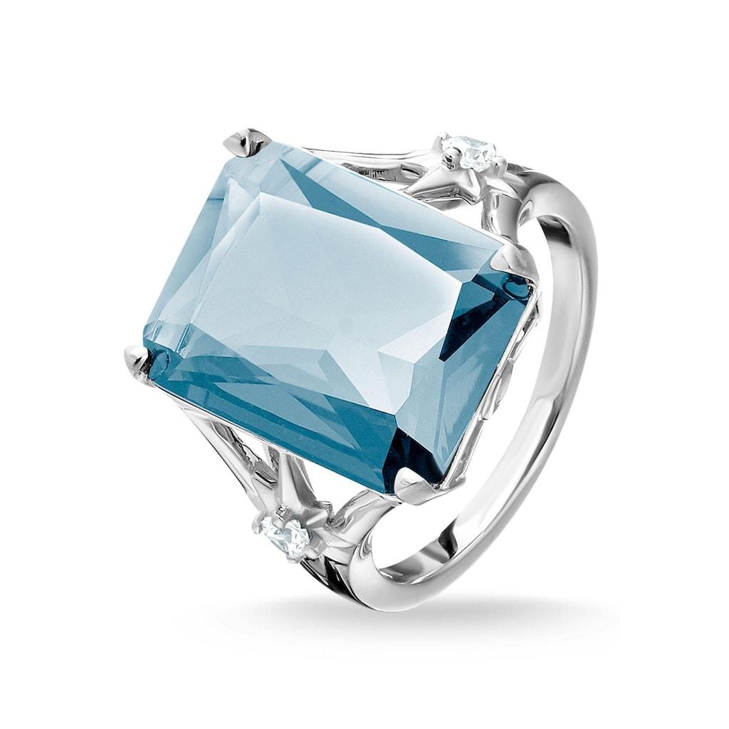 THOMAS SABO Silberring »Stein blau groß mit Stern, TR2261-644-31-52, 54, 56, 58, 60«, mit synth. Spinell und Zirkonia
