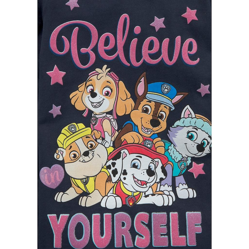 PAW PATROL Langarmshirt »BELIEVE YOURSELF«, Schriftzug mit PAW PATROL Team