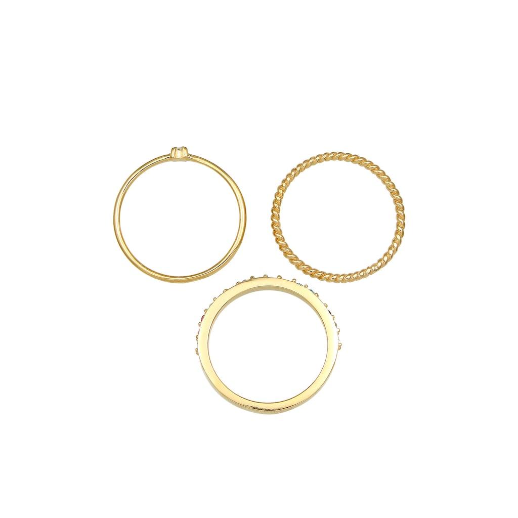 Elli Solitärring »Kristalle Farbig Regenbogen Set (3 tlg) 925 Silber«