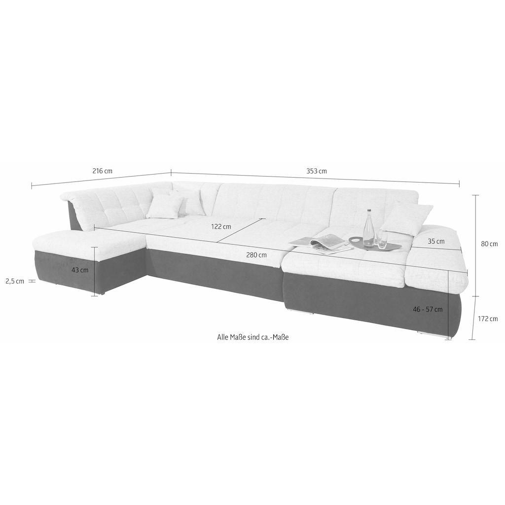 DOMO collection Wohnlandschaft, im XXL-Format, wahlweise mit Bettfunktion und Armlehnenverstellung, inklusive loser Zierkissen, frei im Raum stellbar