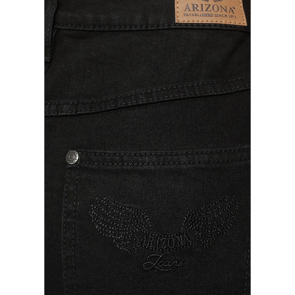 Arizona Gerade Jeans »Comfort-Fit«, High Waist - mit Fransensaum