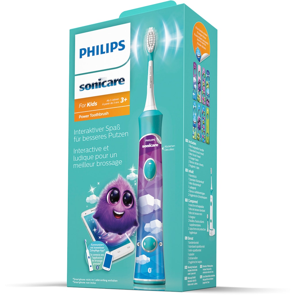 Philips Sonicare Elektrische Kinderzahnbürste »HX6322/04«, 2 St. Aufsteckbürsten, inkl. 8 Aufkleber