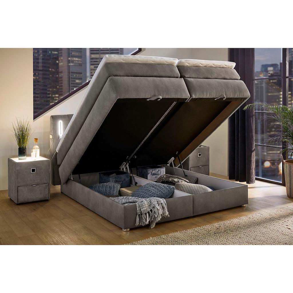 Jockenhöfer Gruppe Boxspringbett, mit Topper, LED-Beleuchtung, USB-Ladeports, Bettkasten und höhenvariablen Kopfteil (96 cm - 108 cm)