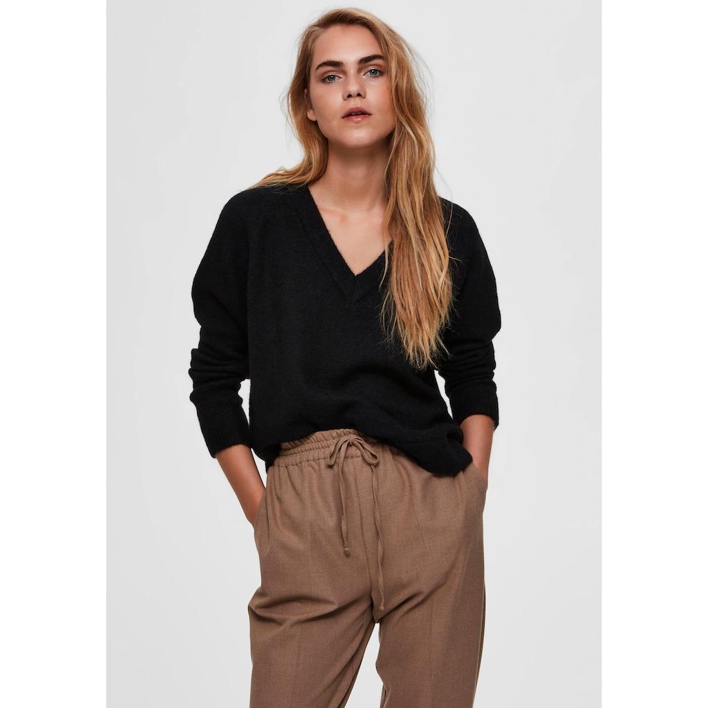 SELECTED FEMME V-Ausschnitt-Pullover »SLFLULU«, aus kuscheliger Wollmix-Qualität