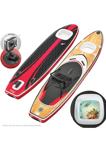 Sportstech Inflatable SUP-Board »WBX_WOODENBLACK«, (Set, 9 tlg., mit Paddel, Pumpe, Transportrucksack und Sitz), Sichtfenster kaufen