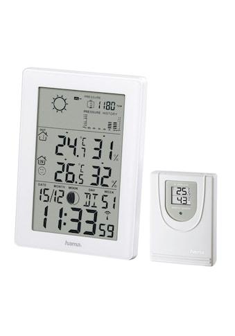 Hama Funk Wetterstation Barometer Hygrometer Vorhersage Funkuhr »Mondphasen Wecker Außensensor« kaufen