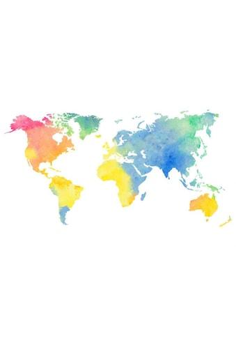 Wall-Art Wandtattoo »Aquarell Weltkarte Regenbogen« kaufen