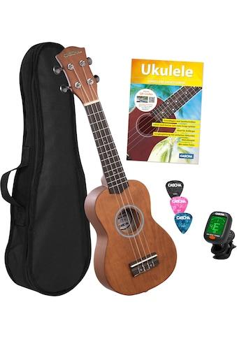 Cascha Ukulele »Sopran, Cappuccino«, mit Tasche, Übungsheft, Plektren und Stimmgerät kaufen