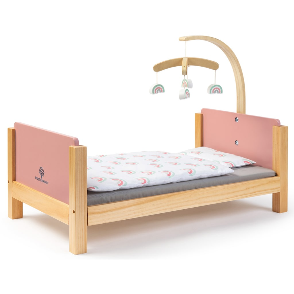 MUSTERKIND® Puppenbett »Barlia, altrosa/natur«, mit Mobile