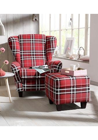 Home affaire Sessel »Oliver«, inklusive Hocker, Struktur fein, Karomuster kaufen