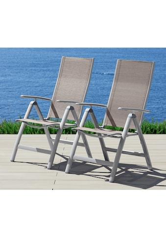 MERXX Gartenstuhl »Amalfi«, 2er Set, Alu/Textil, verstellbar kaufen