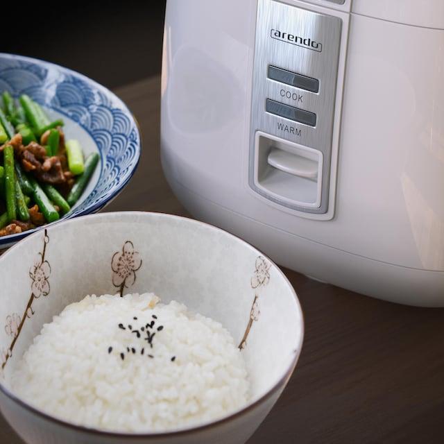 Arendo Reiskocher / Dampfgarer mit Warmhaltefunktion »MAKI 1,4 Liter White«
