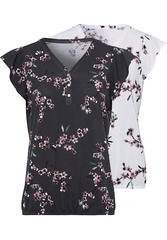LASCANA Shirttop, (2er-Pack), mit kleinen Flügelärmelchen und floralem Druck kaufen