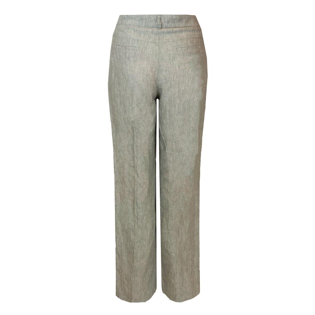 bianca Leinenhose »PARIGI«, mit weitem Bein und dezentem Bindegürtel
