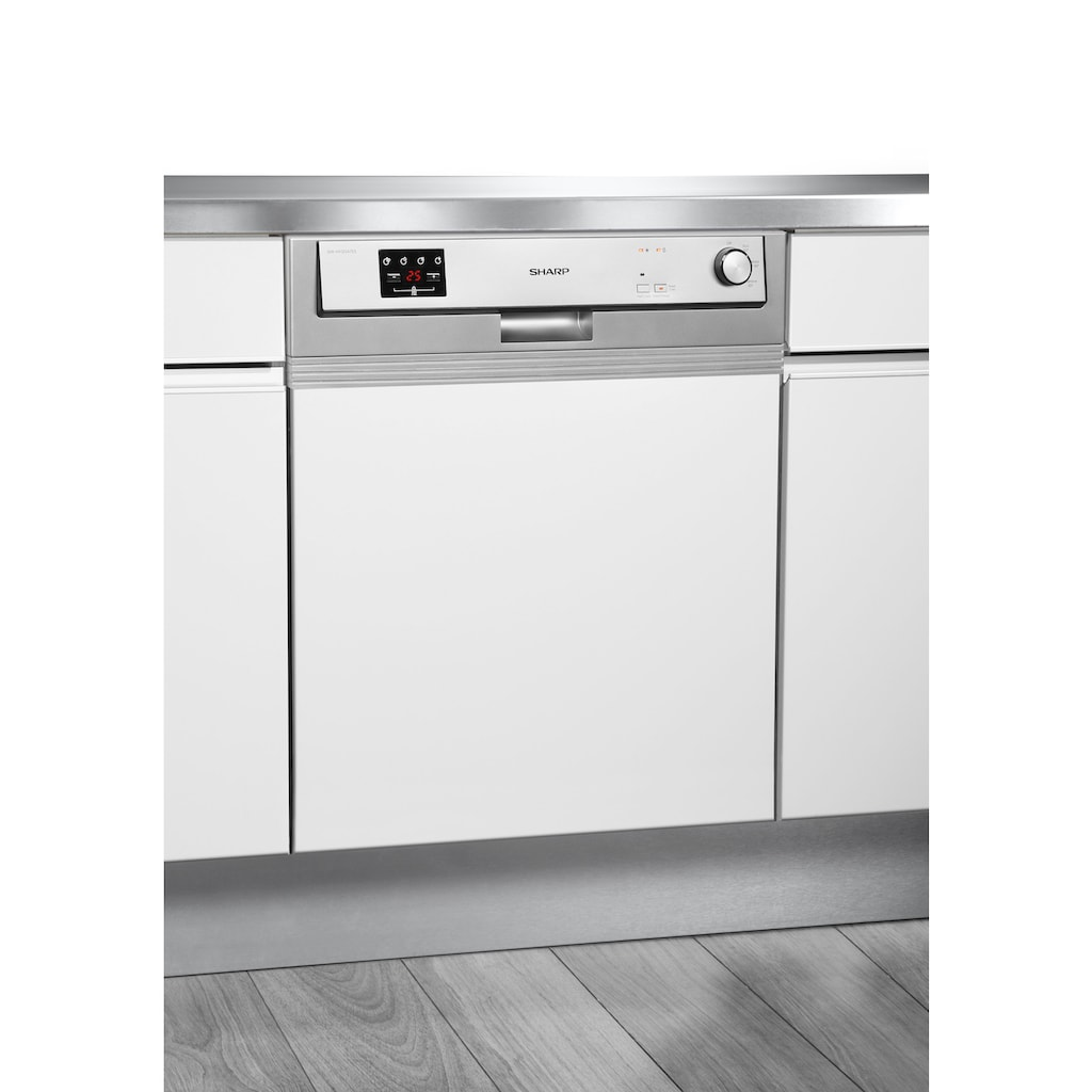 Sharp teilintegrierbarer Geschirrspüler, QW-HX12S47ES-DE, 12 Maßgedecke