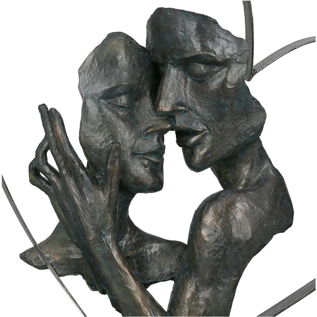 GILDE Dekofigur »Skulptur Essential, bronzefarben/braun«, Dekoobjekt, Höhe 37, Pärchen in Metallherz, antikfinish, mit Spruchanhänger, Wohnzimmer