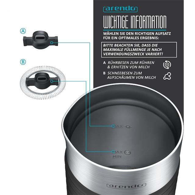 Arendo automatischer Milchaufschäumer mit Warm- und Kaltaufschäumen »MILKLOUD Black«