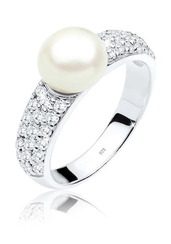 Elli Fingerring »Süßwasserzuchtperle Zirkonia 925er Silber« kaufen