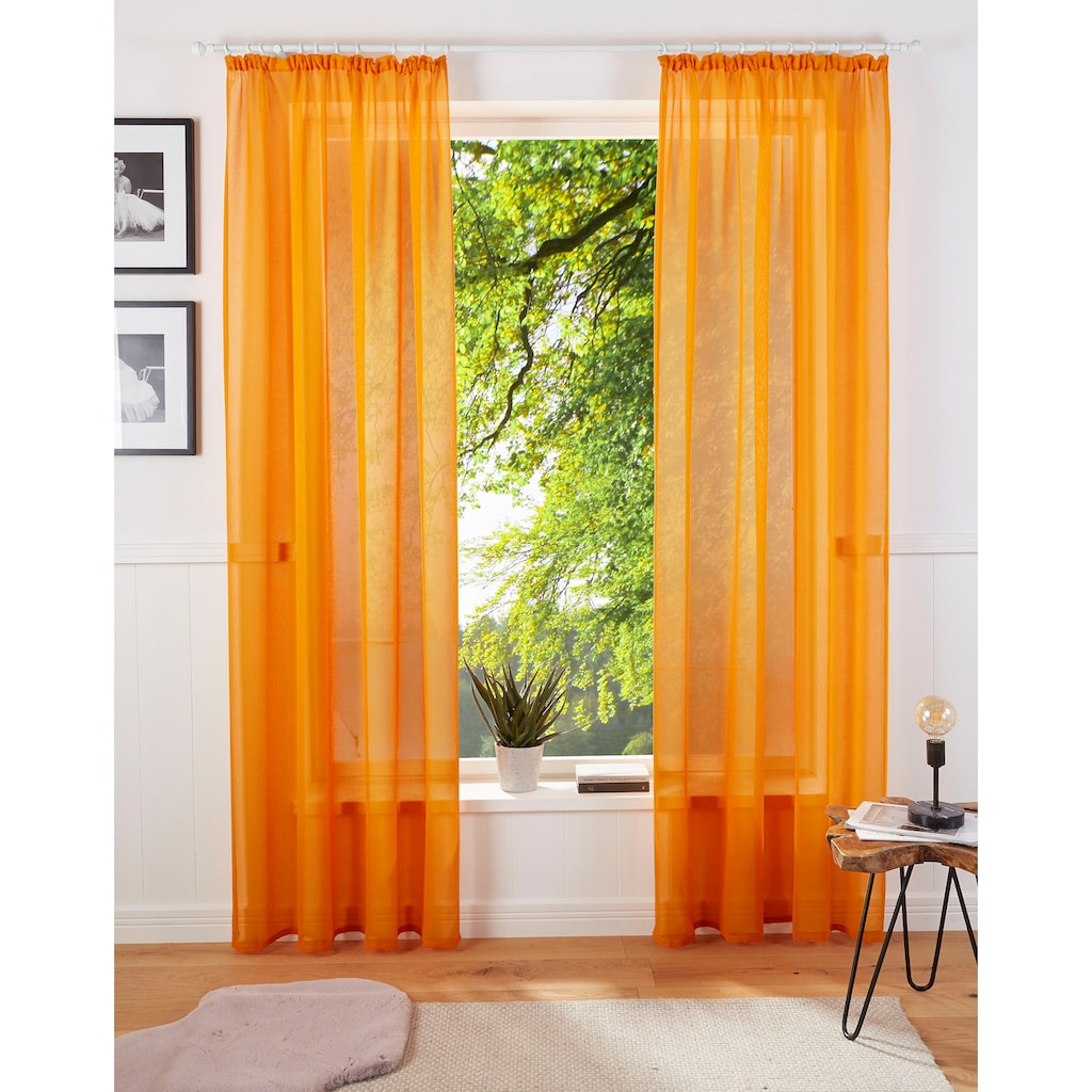 Guido Maria Kretschmer Home&Living Gardine »TENDER«, transparent, Leinen Optik mit Struktur, monochrom