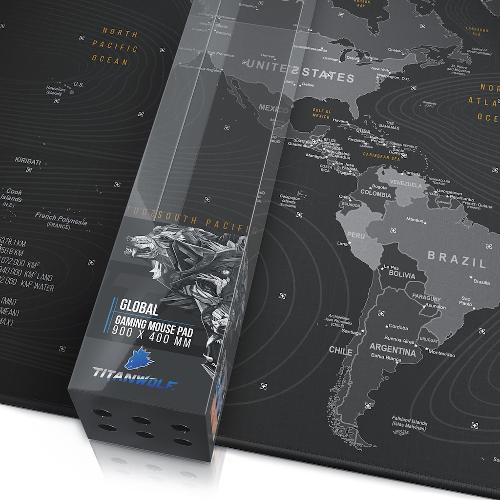 Titanwolf Gaming Mauspad »Mousepad 900 x 400mm große Fläche«, XXL aus glattem Stoffgewebe