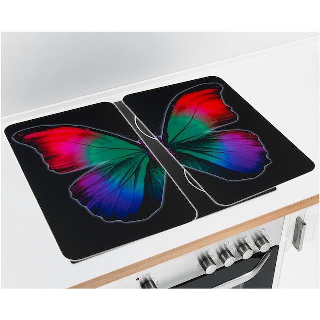"WENKO Herd-Abdeckplatte ""Universal Butterfly by Night"", Glas Kunststoff, (Set, 2-tlg.)"