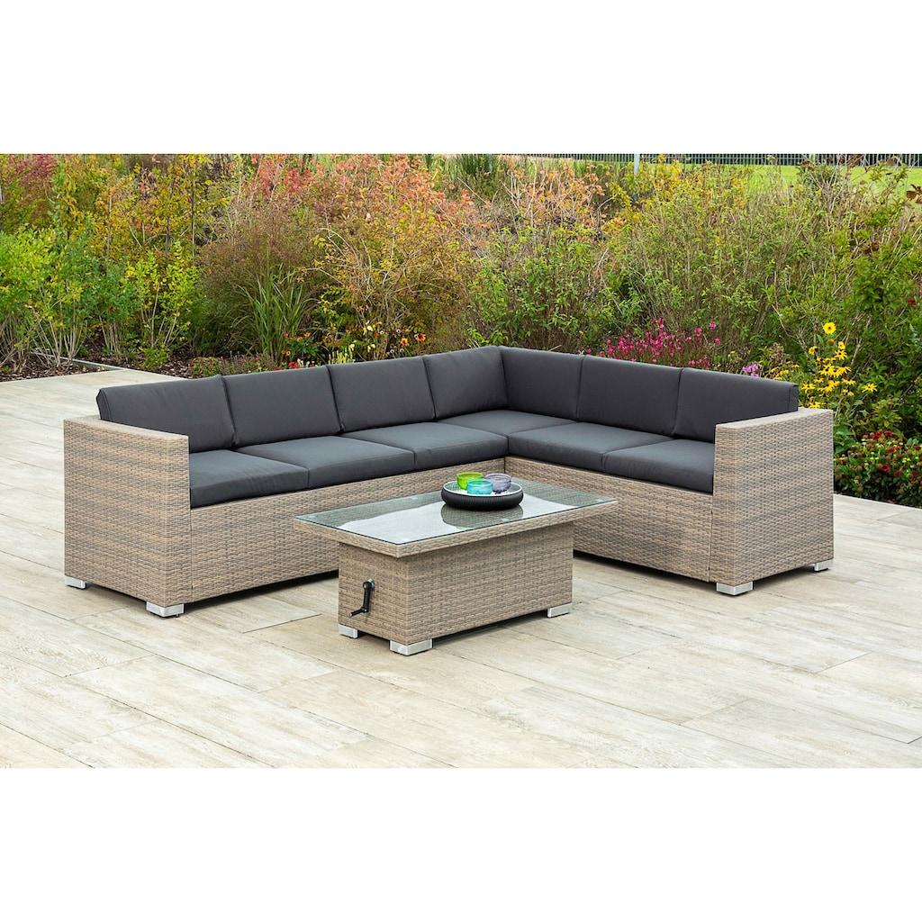 MERXX Gartenmöbelset »Bellante«, (2 tlg.), Eckbank und höhenverstellbarer Tisch, mudbraun
