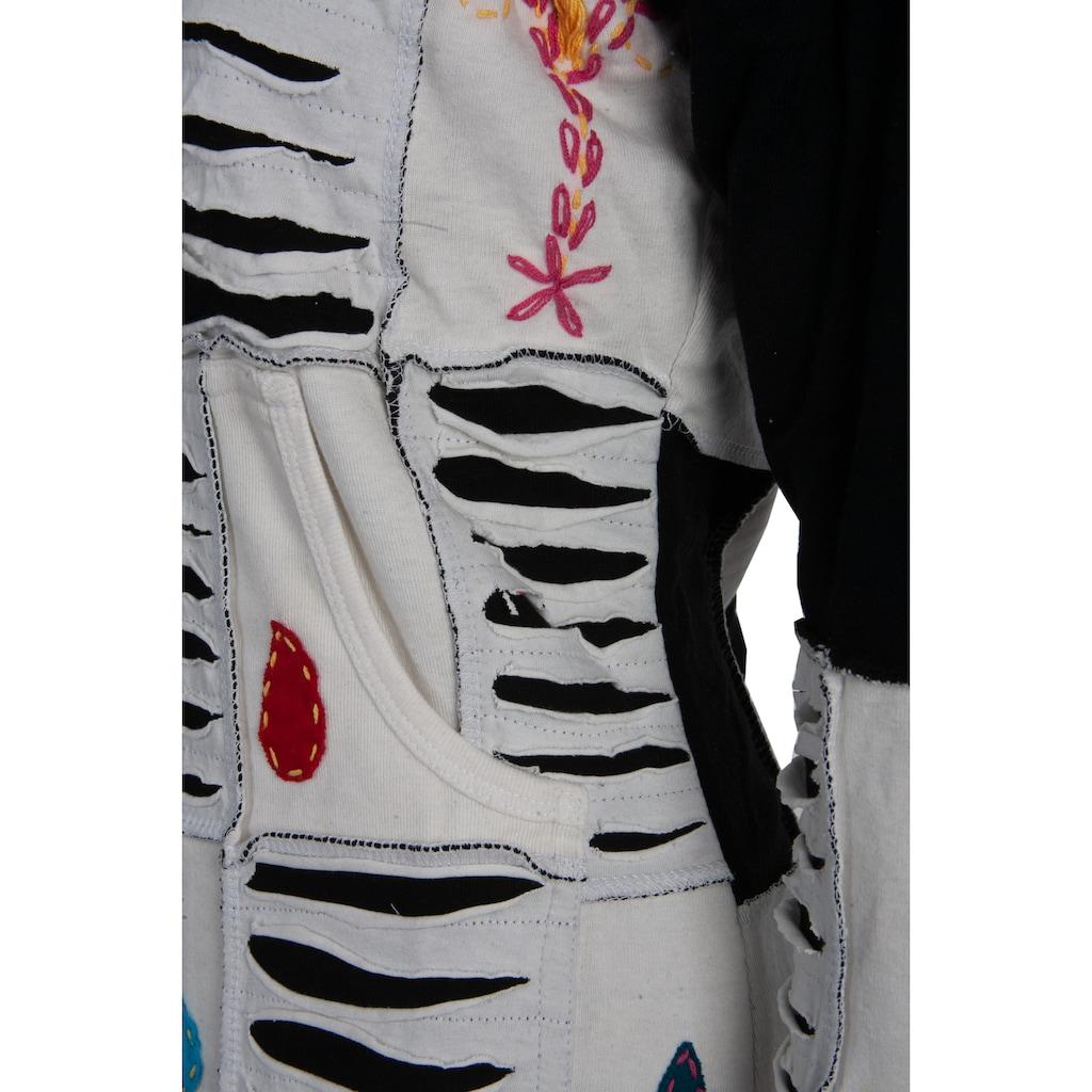 DEPROC Active Strickmantel »Patchwork Mantel Multicolor FLOWER POWER LIGHT GRAY mit Kapuze«