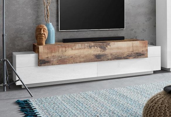 Lowboard in Weiß mit Holzdekor