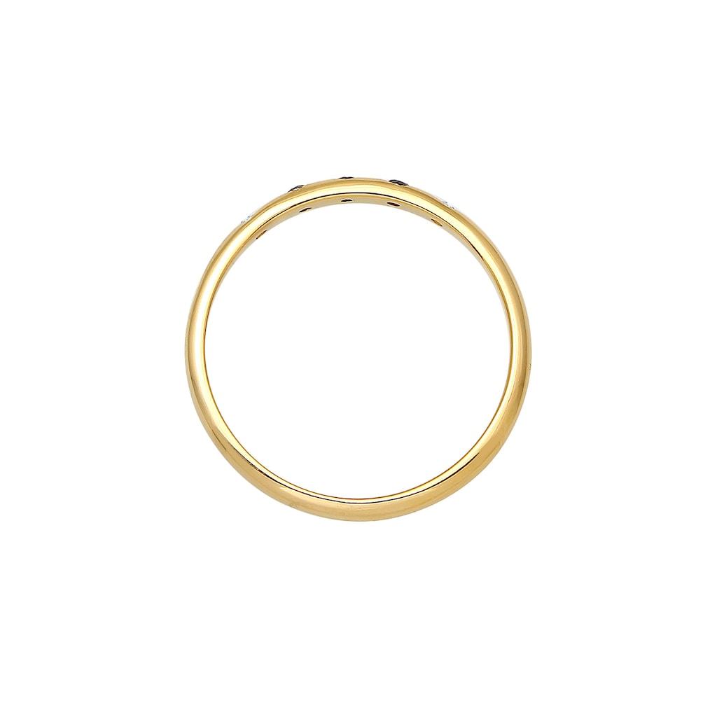 Elli Verlobungsring »Bandring Weiß Schwarz Diamant (0.075 ct) 375 Gold«