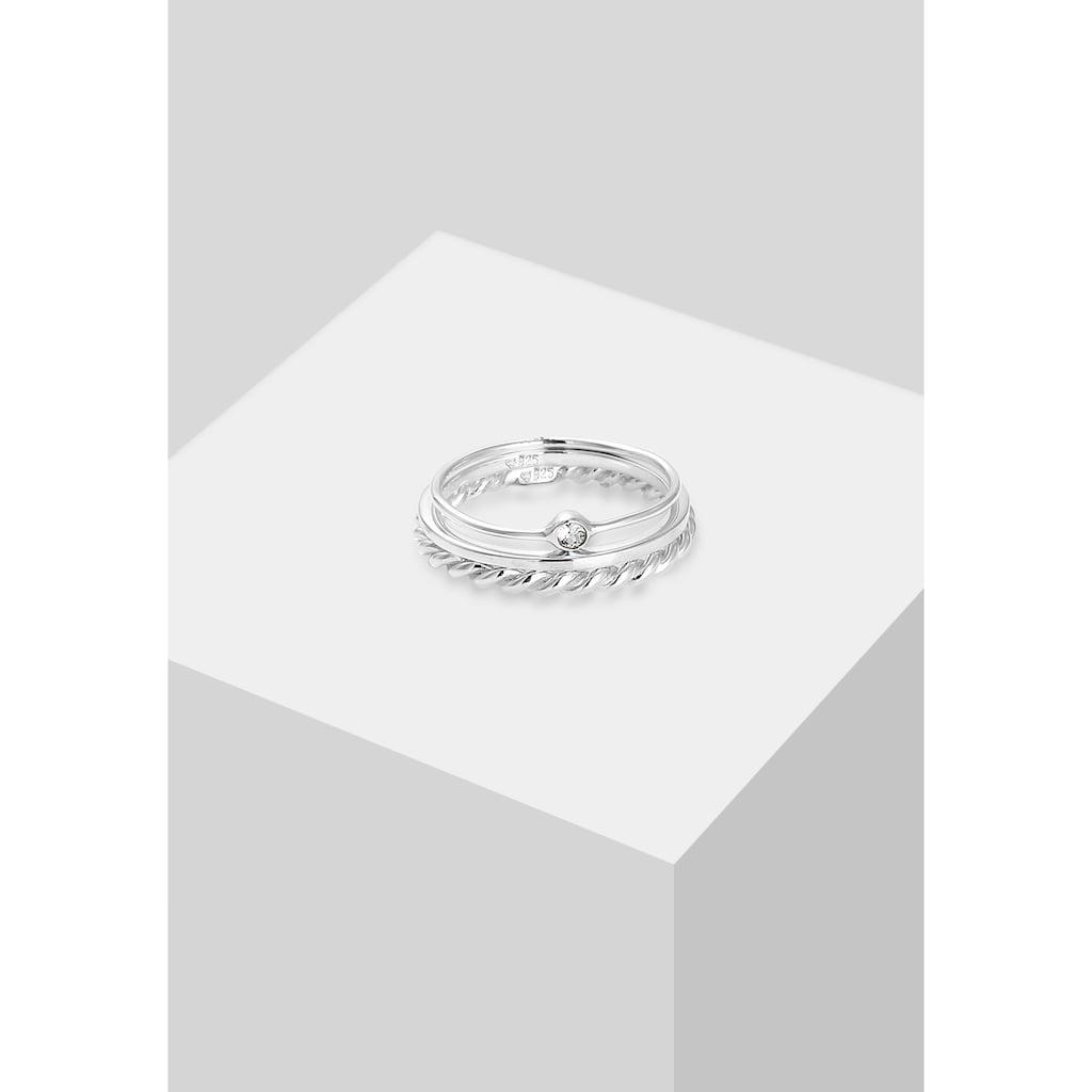 Elli Solitärring »Ring-Set mit Kristalle 925 Silber«