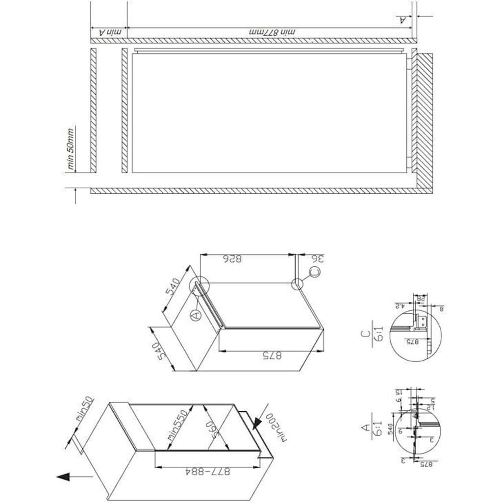Amica Einbaukühlschrank, 87,5 cm hoch, 54,0 cm breit