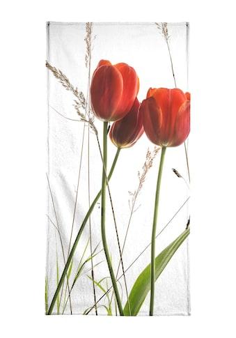 Juniqe Handtuch »Flora - Tulpe«, (1 St.), Weiche Frottee-Veloursqualität kaufen