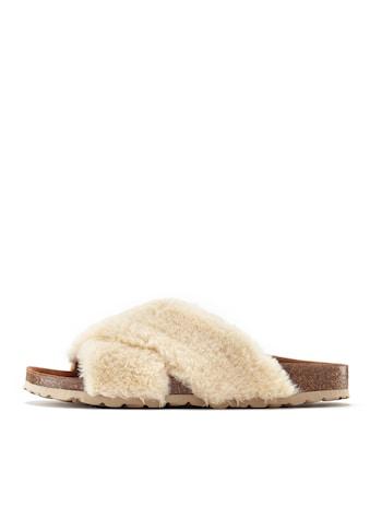 LASCANA Pantolette, Hausschuh mit bequemen Korkfußbett und kuscheligem Fellimitat kaufen