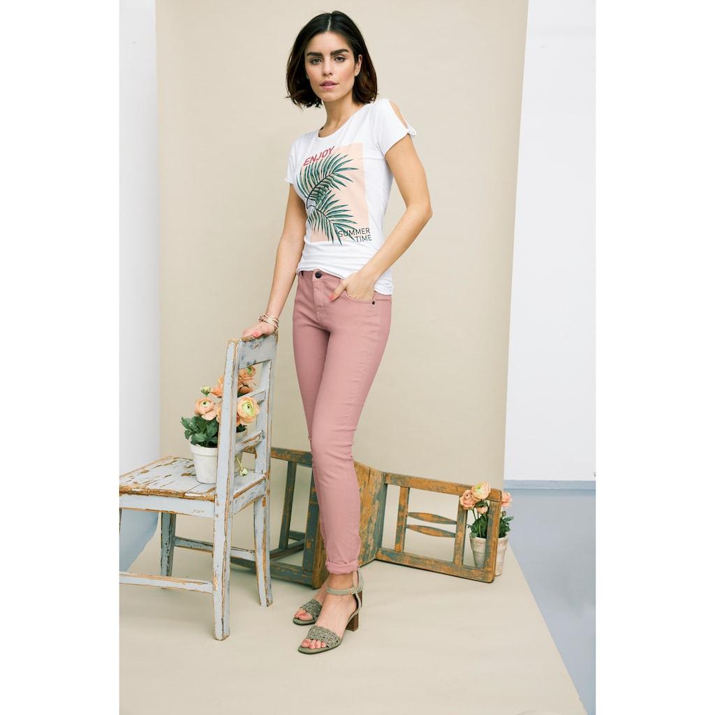 Tamaris Print-Shirt, mit Knotendetail am Arm