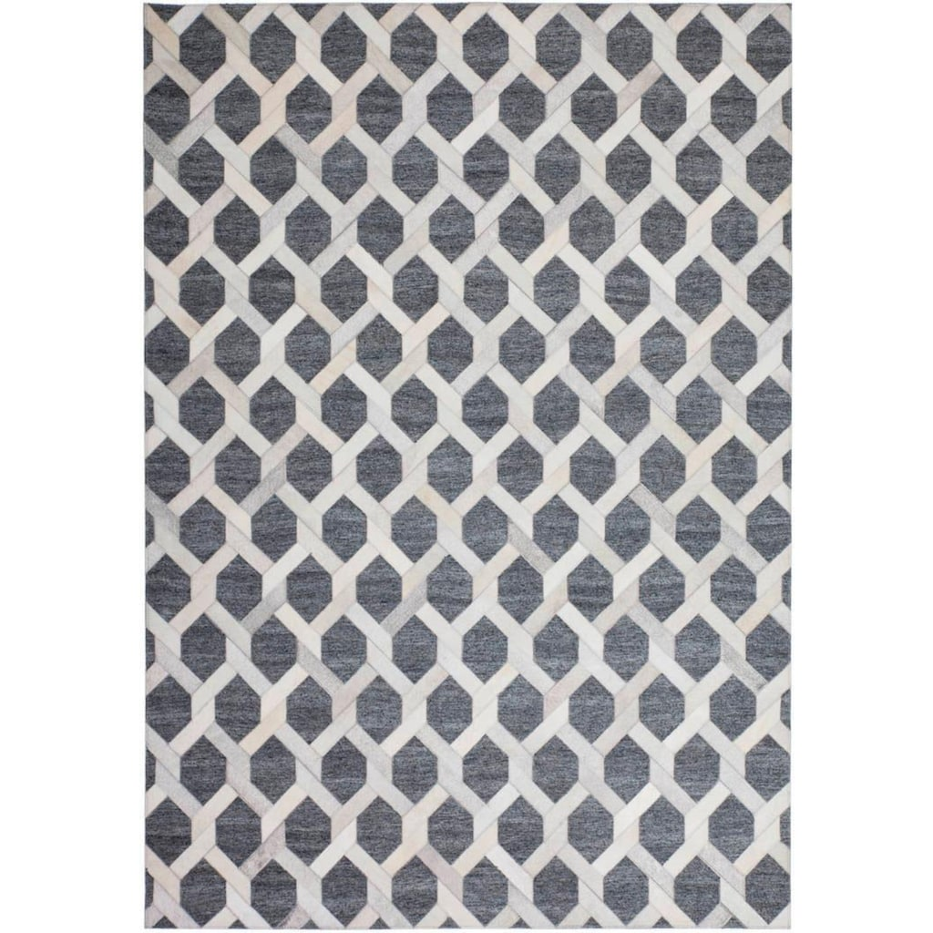 Kayoom Fellteppich »Chimera 110«, rechteckig, 8 mm Höhe, mit Leder Anteil, Wohnzimmer