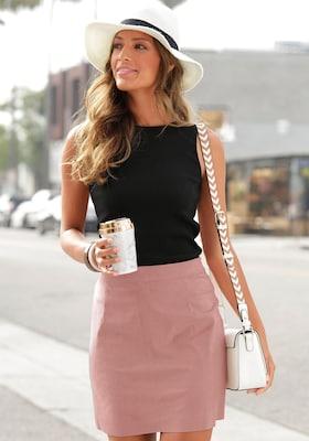 rosa Minirock aus Verlourleder