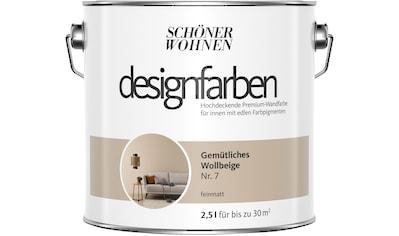 SCHÖNER WOHNEN FARBE Farbe »Designfarben«, Gemütliches Wollbeige Nr. 7, feinmatt 2,5 l kaufen