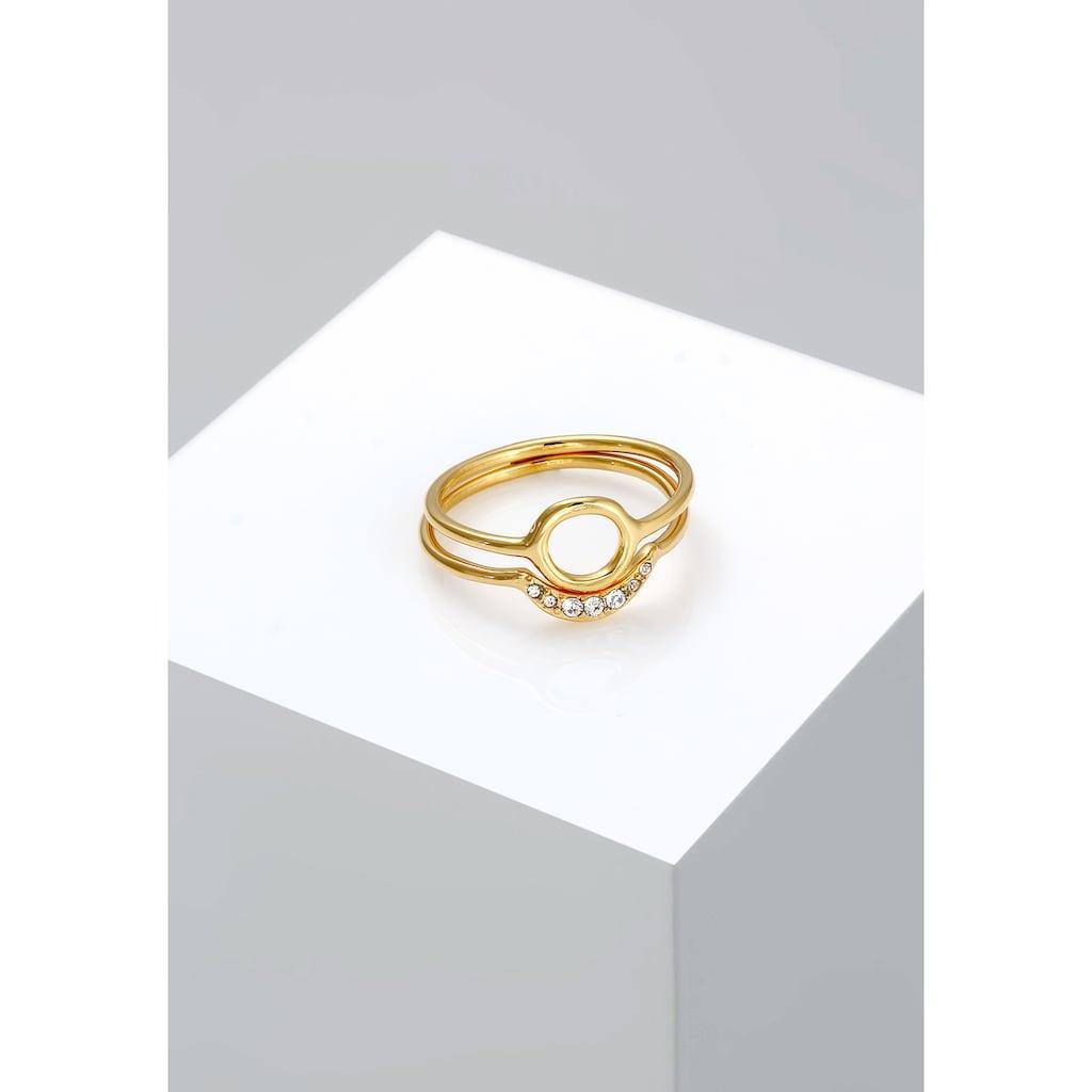 Elli Solitärring »Halbmond Kreis Kristalle Silber«