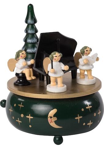 HGD Holz - Glas - Design Spieluhr Engel mit Klavier aus Massivholz kaufen