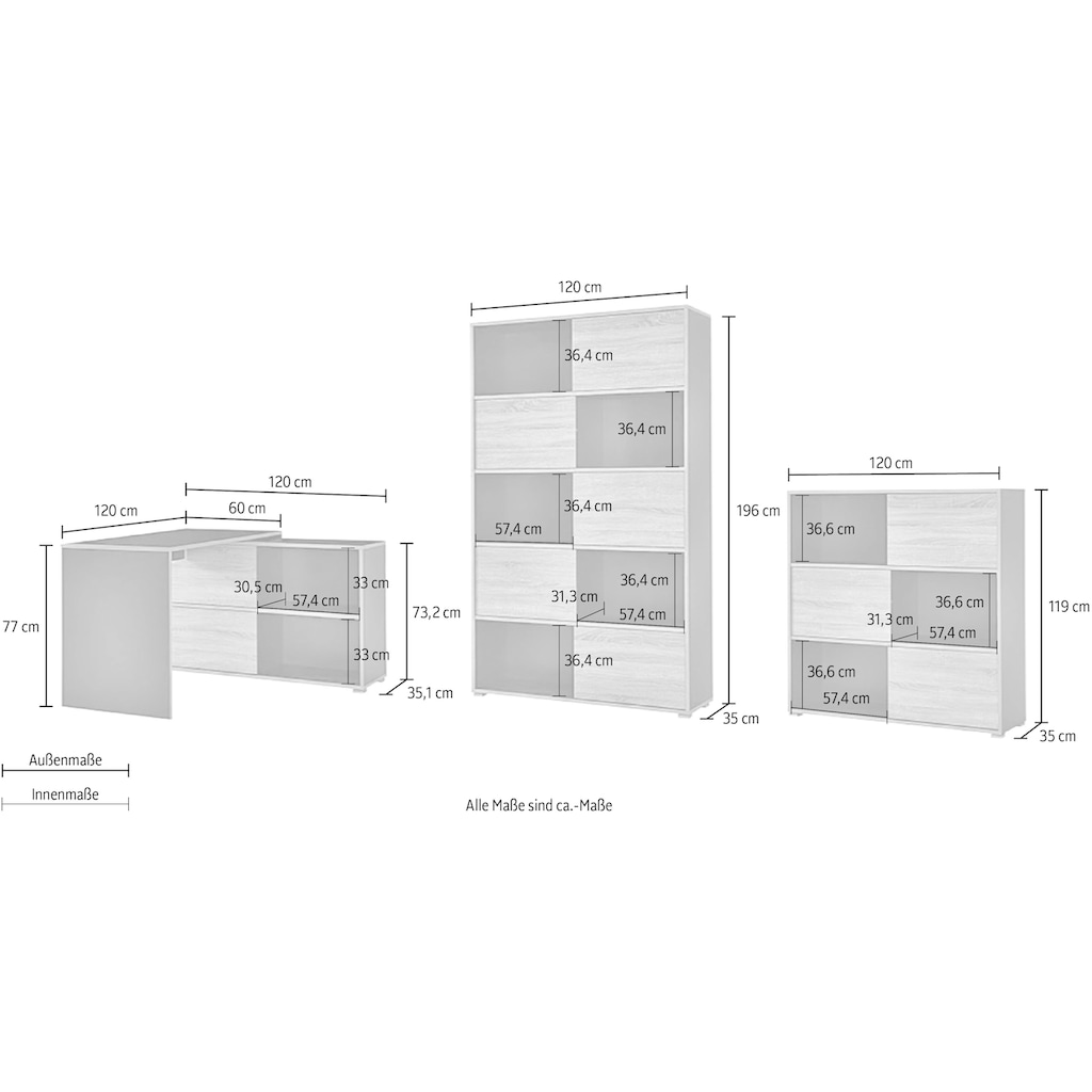 GERMANIA Büromöbel-Set »GW-Slide«, (Set, 3 St.)