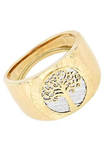 Firetti Goldring »Ringkopf mit Baum des Lebens, Hintergrund Baumstamm rhodiniert mit... kaufen