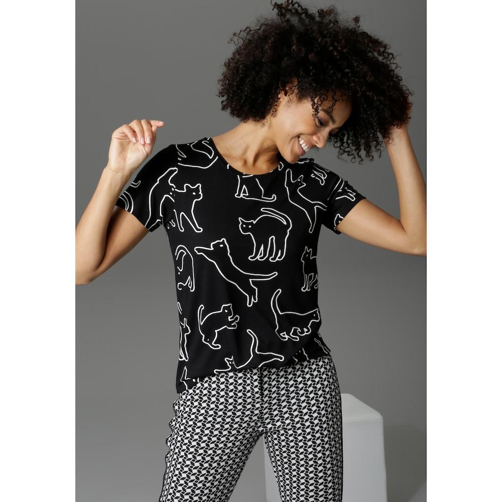 Aniston CASUAL T-Shirt, mit Katzen bedruckt