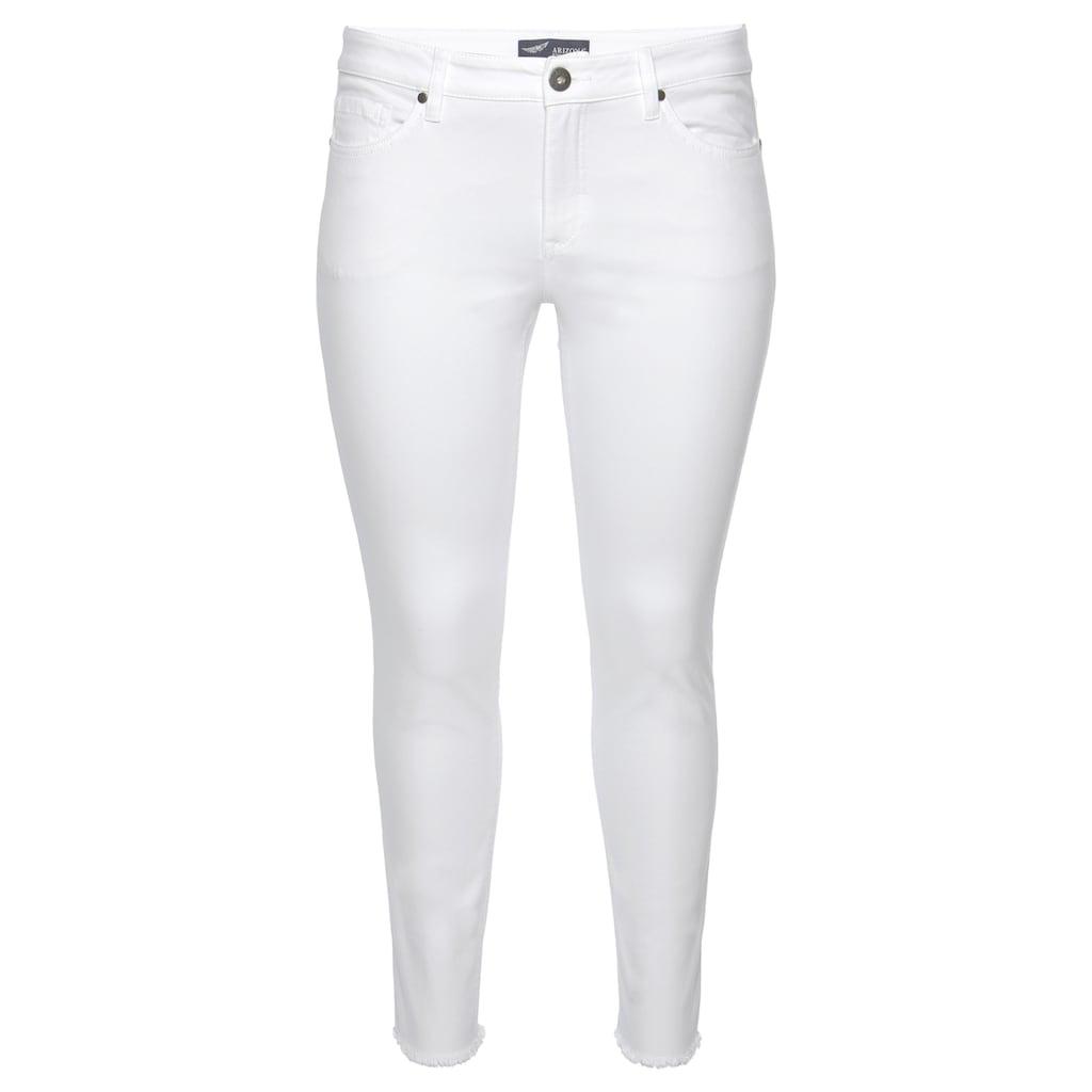 Arizona Skinny-fit-Jeans »knöchellang mit Fransensaum«, Mid Waist