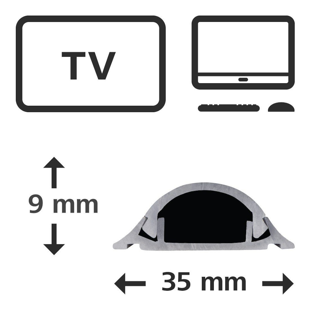 Hama PVC-Kabelkanal, halbrund, 100/3,5/0,9 cm, Grau