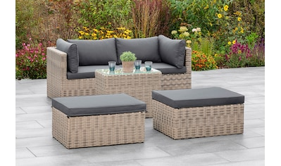 MERXX Gartenmöbelset »Licosa«, (5 tlg.), 2 Sessel, 2 Hocker, Tisch, mit Auflagen,... kaufen
