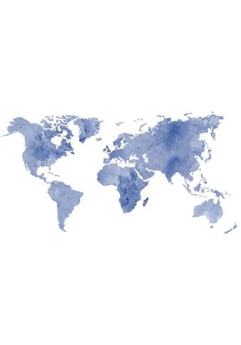 Wall-Art Wandtattoo »Aquarell Weltkarte Aqua« kaufen