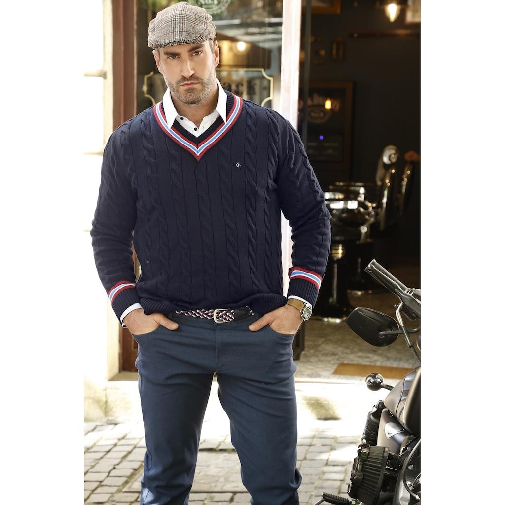 Charles Colby V-Ausschnitt-Pullover »DUKE RONALD«, klassisches Zopfmuster